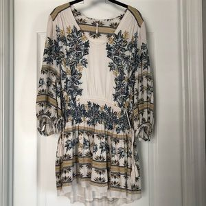 Free People White Dress with 3/4 Length Sleeves